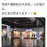 【Twitter】【速報】千葉駅前が大洪水 まるで海(´;ω;`)
