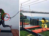 【中国】中国の山頂にある絶叫テーマパークで命綱が外れるトラブル 「え、演出映像アル」と意味不明な説明